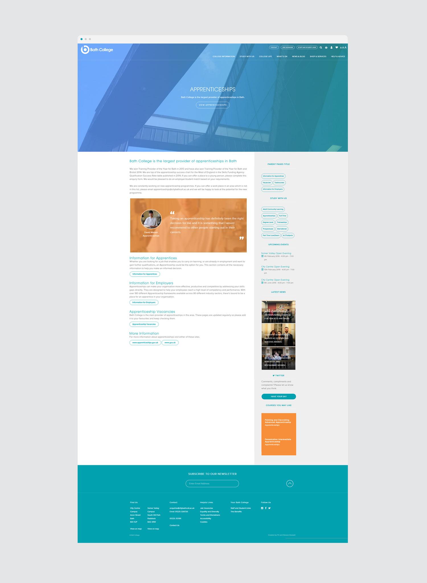 bath college apprenticeship web design