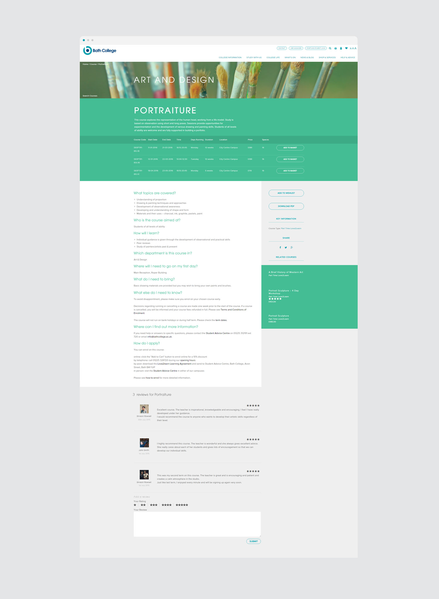 bath college course web design