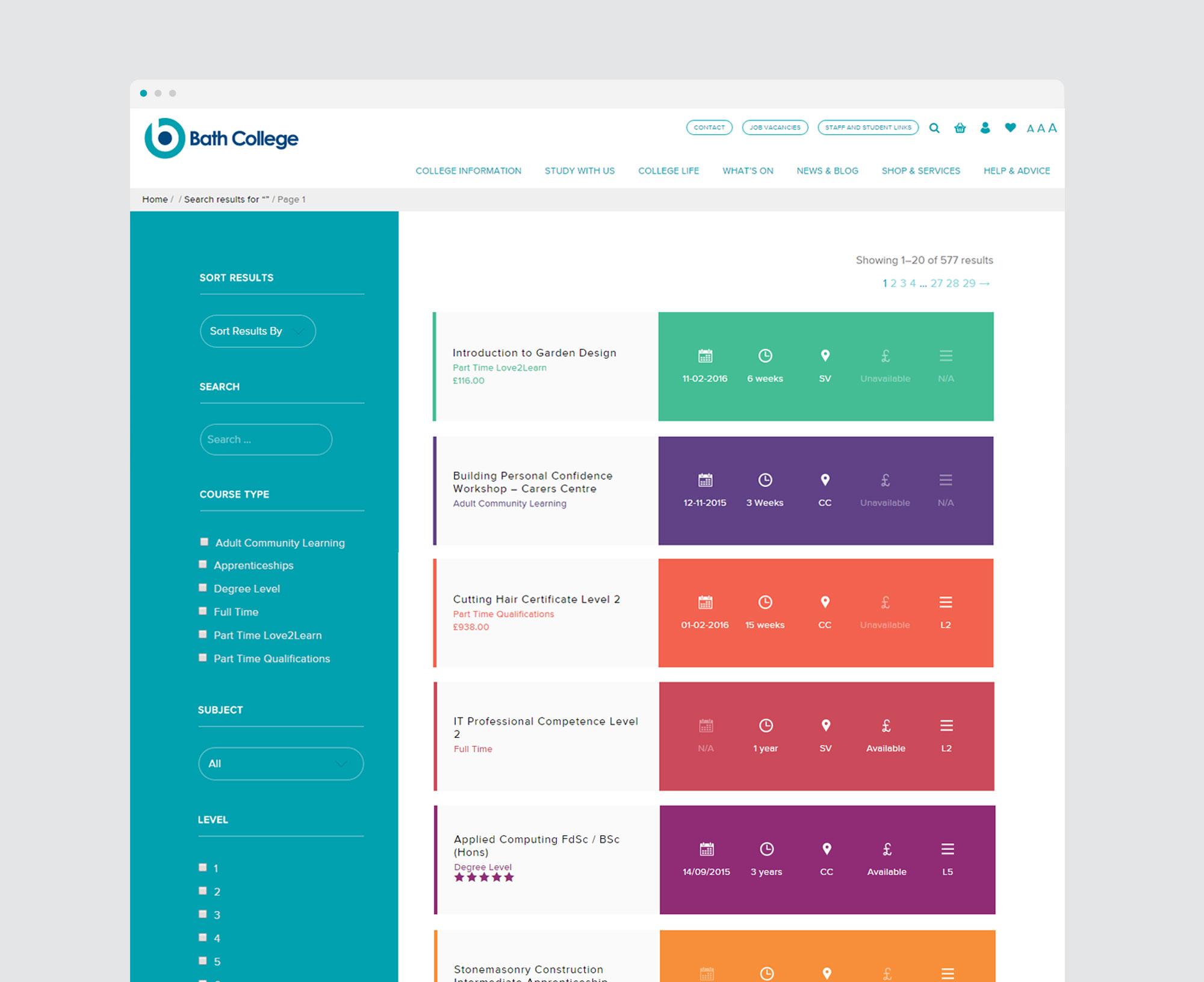 Bath College filter web design