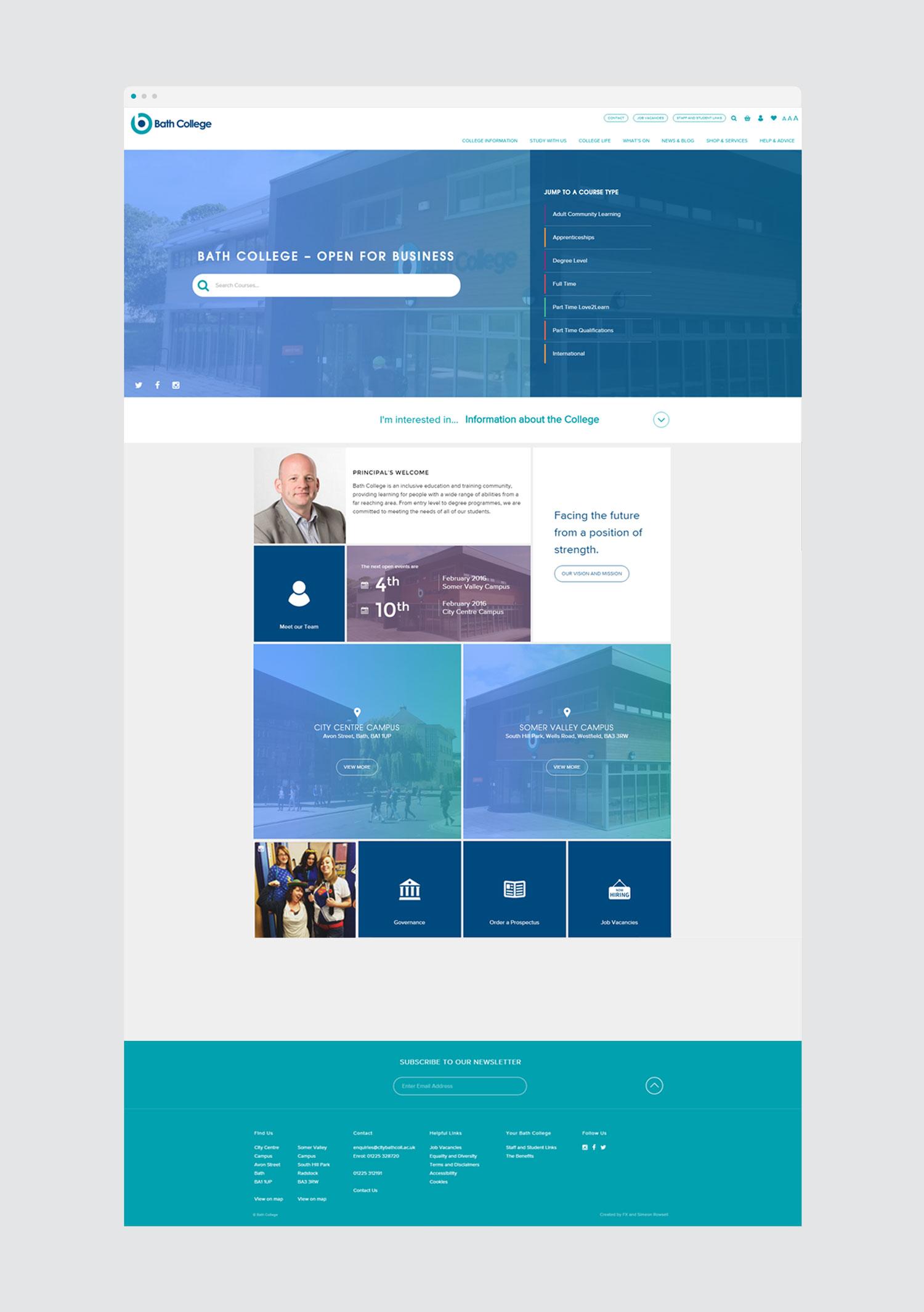 bath college home page web design