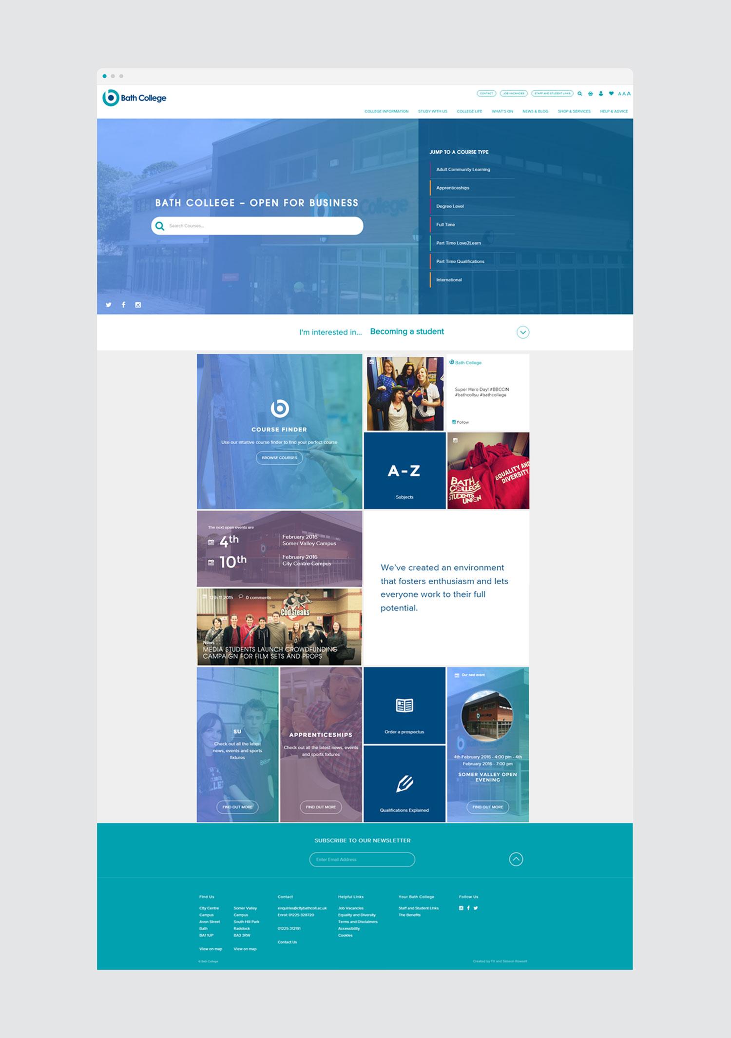 Bath College home web design