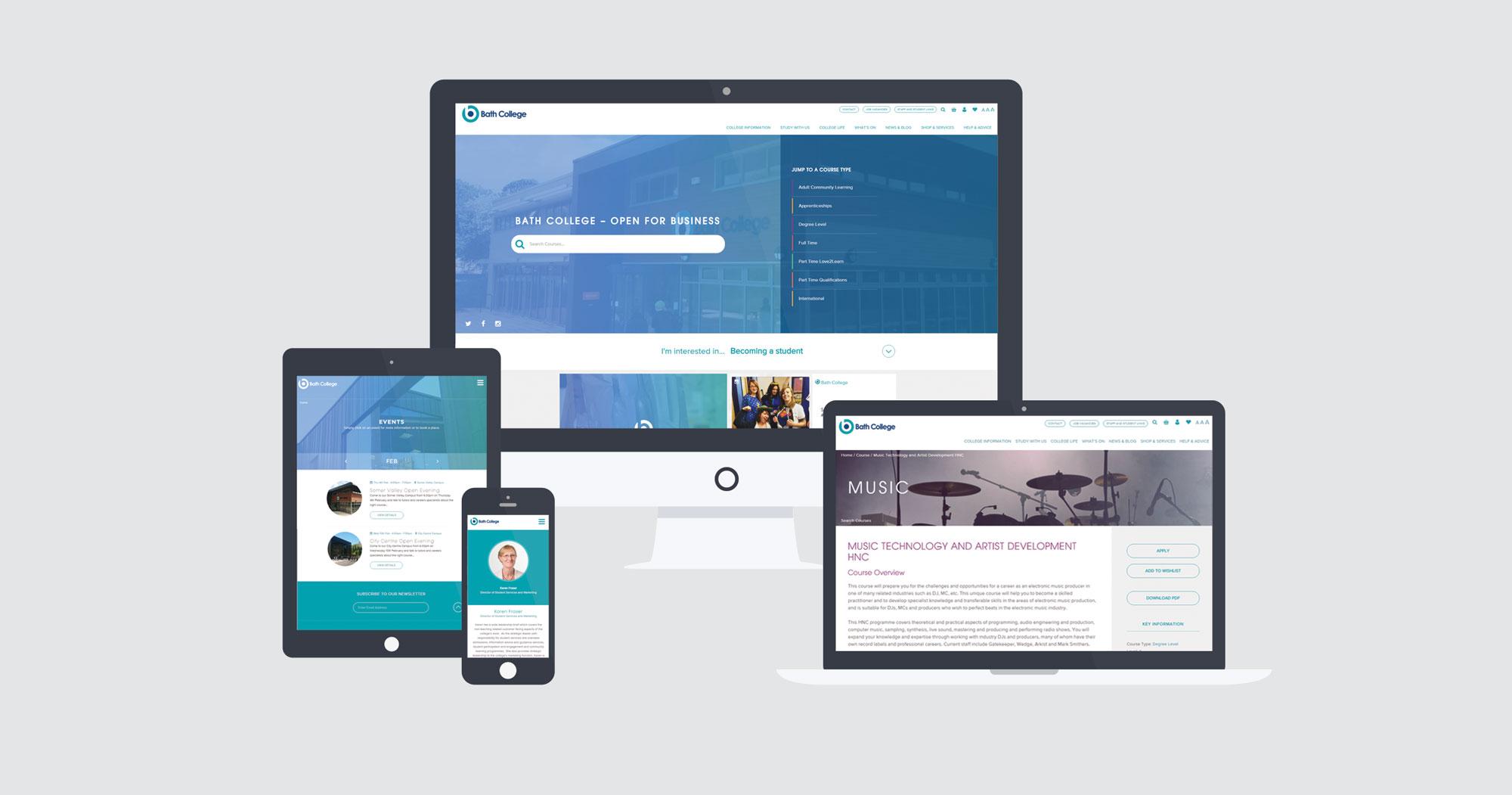 bath college responsive web design