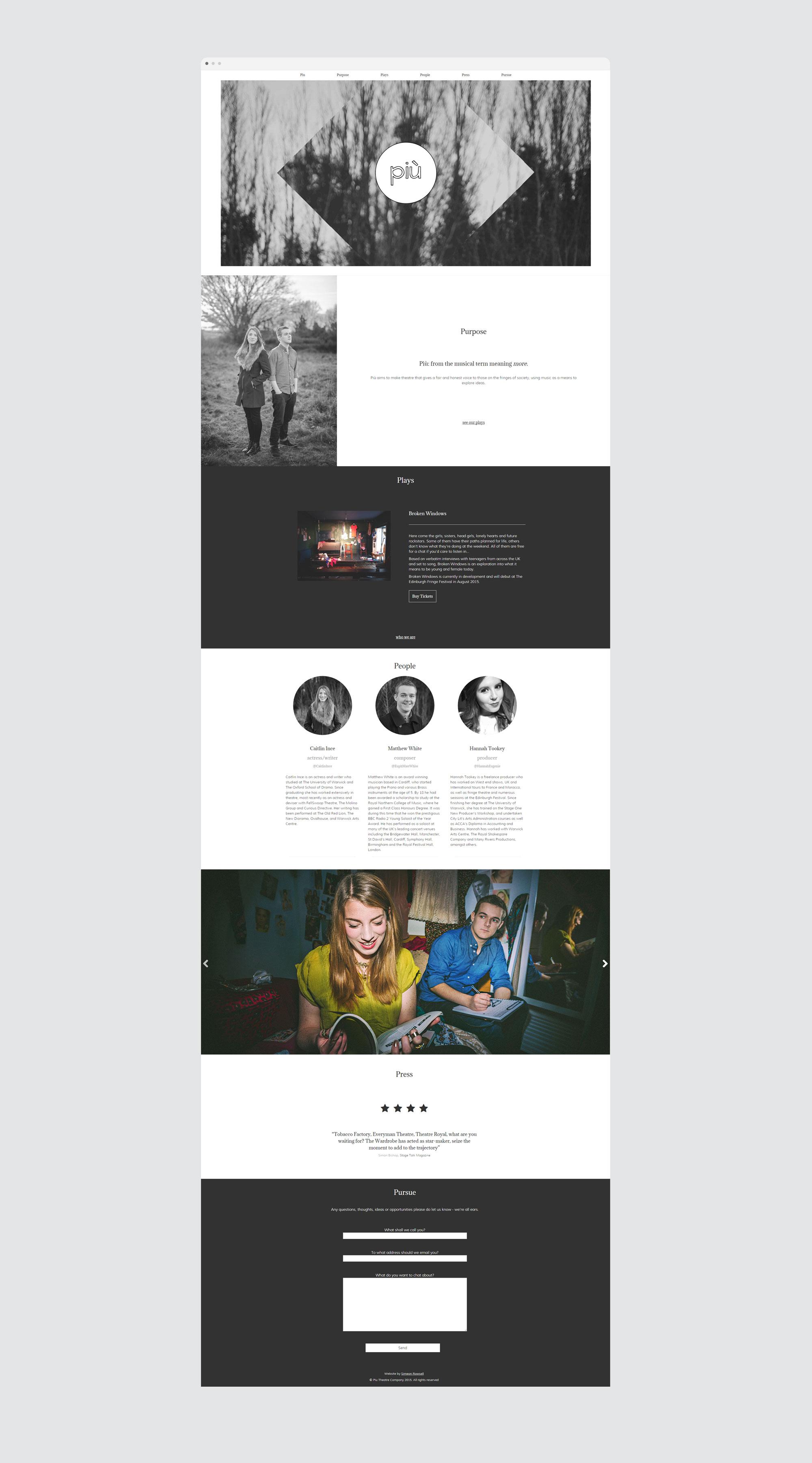 Piu theatre web design