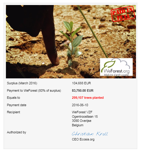 Ecosia Receipt