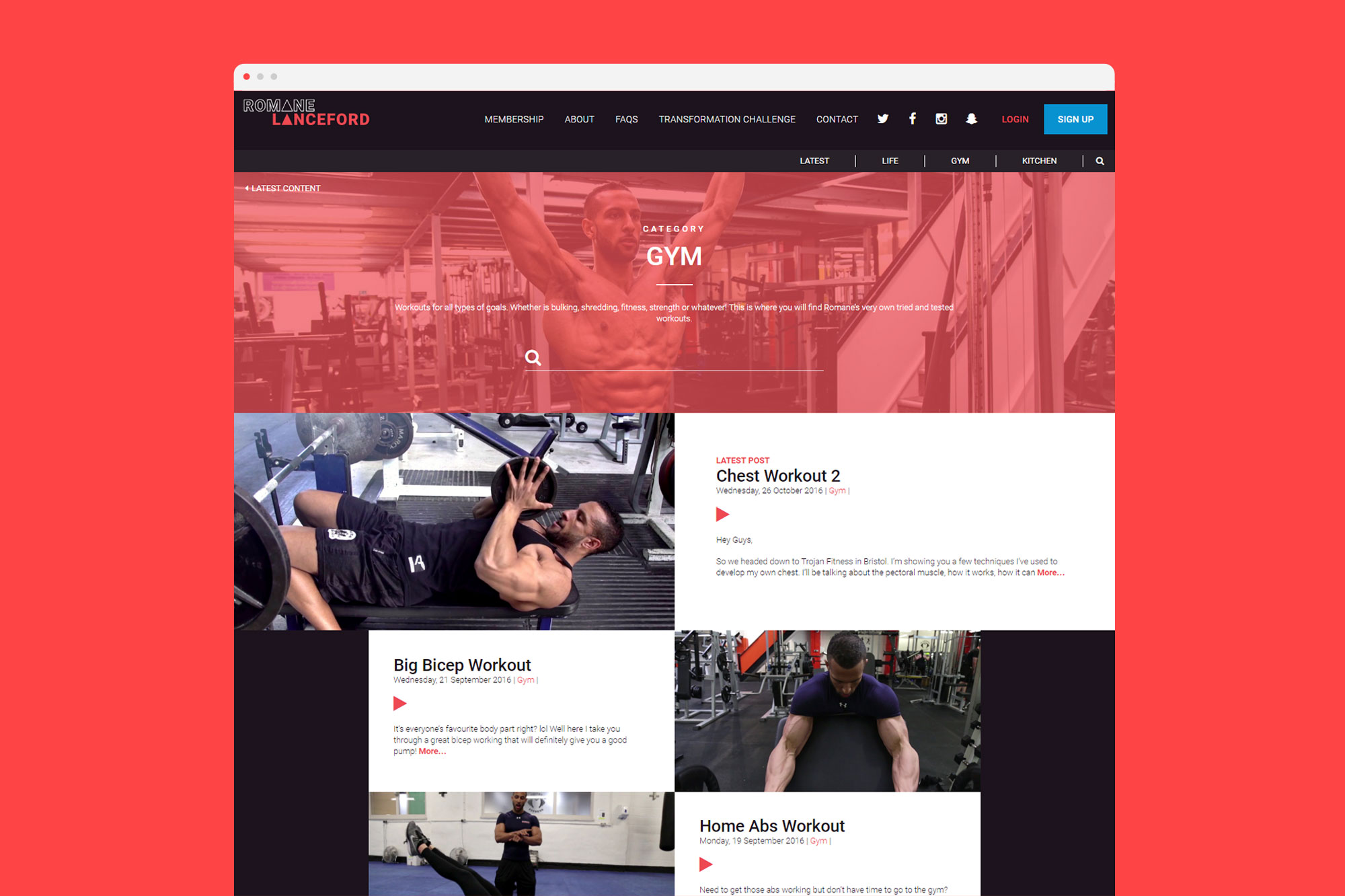 Gym Page Design